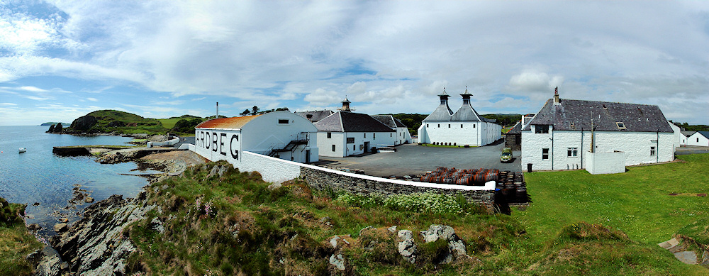 Panoramic picture of Ardbeg distillery on Islay