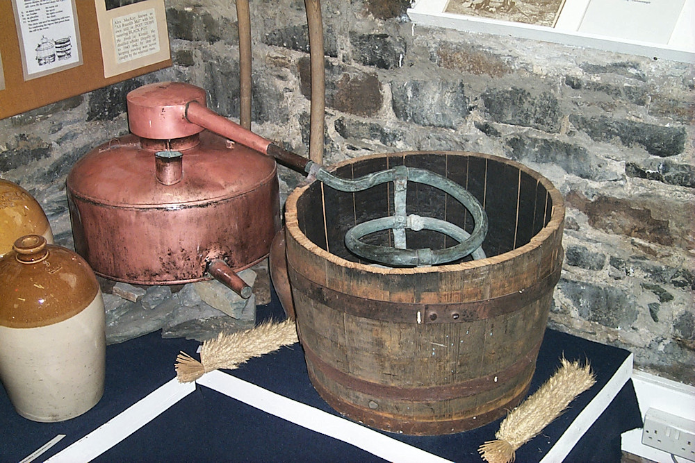 Picture of an illicit still in a museum