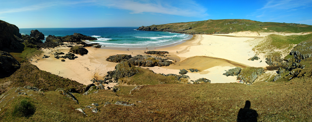 Panoramic picture of a bay with a sandy beach
