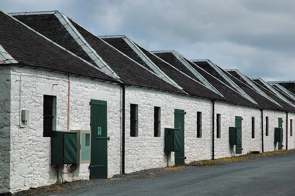 Picture of a row of distillery warehouses