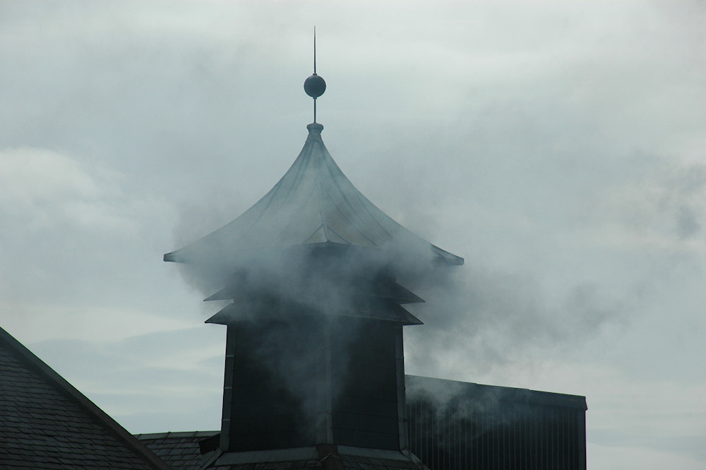 Picture of kiln pagoda smoking at Laphroaig distillery