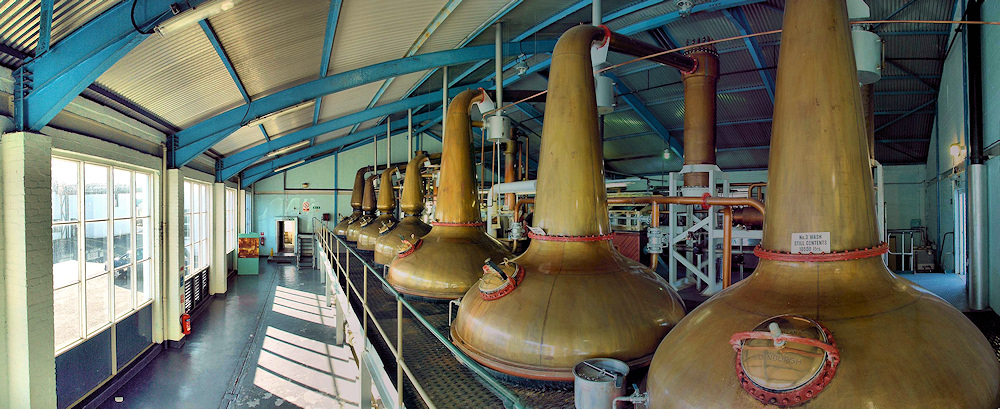 Panoramic picture of the still in the still house at Laphroaig distillery