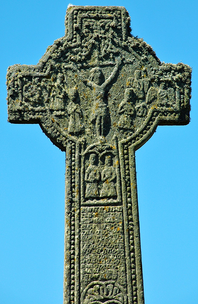 Picture of the Kilchoman Cross, a Celtic cross, in the sunshine
