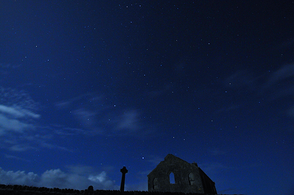 Picture of a church and a Celtic cross under a moonlit night sky with stars