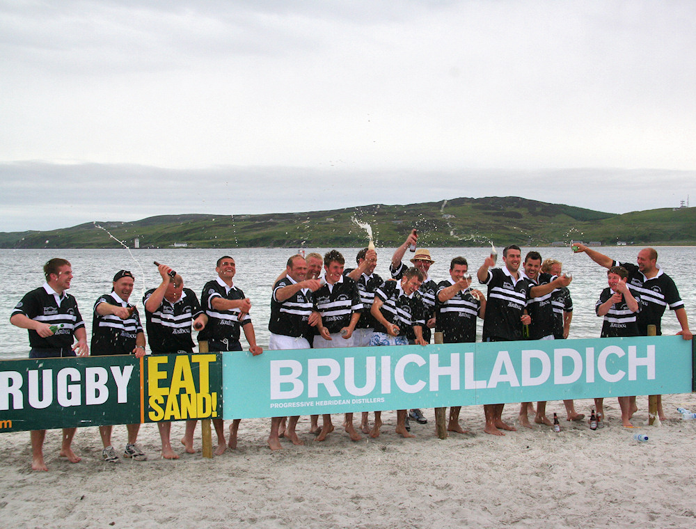 Picture of the Islay beach rugby tournament Laddie Cup winners, Ardbeg distillery