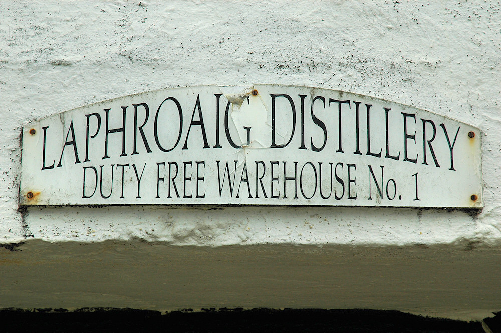 Picture of a sign for the Laphroaig Distillery Warehouse No1