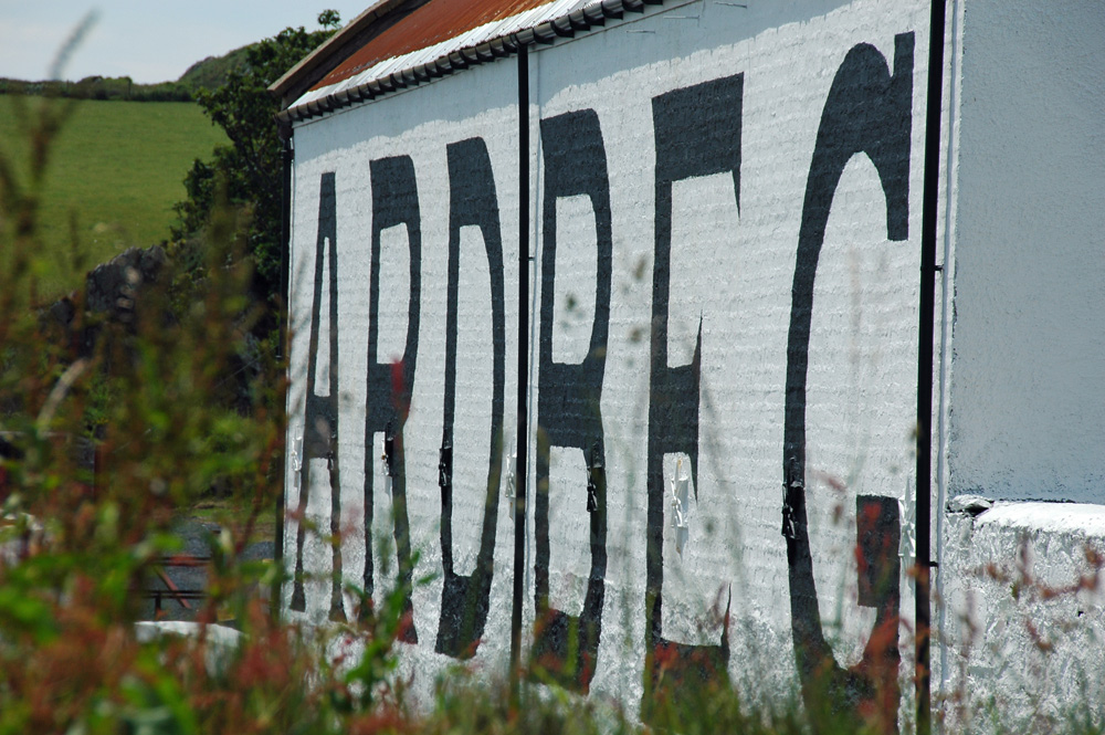 Picture of the Ardbeg warehouse with the big letters