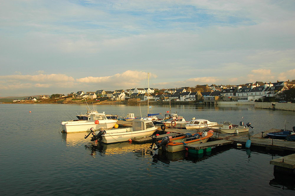 View of a small harbour and a village