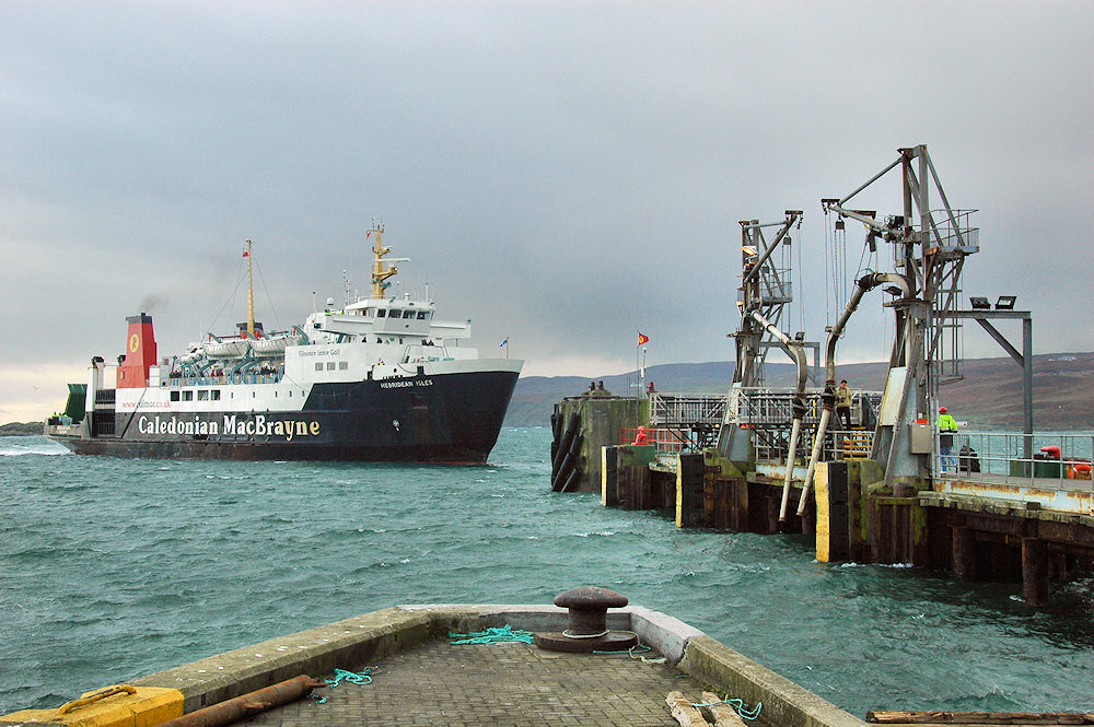 Picture of the Calmac ferry MV Hebridean Isles docking at the pier in Port Ellen