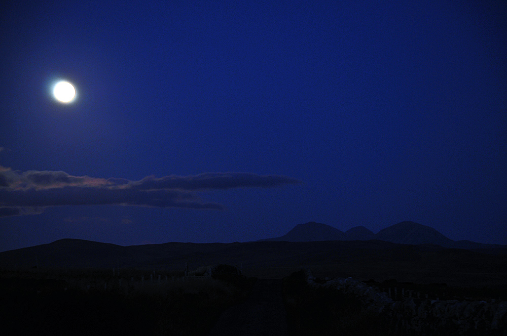 Picture of the moon in the late evening sky over a rural landscape