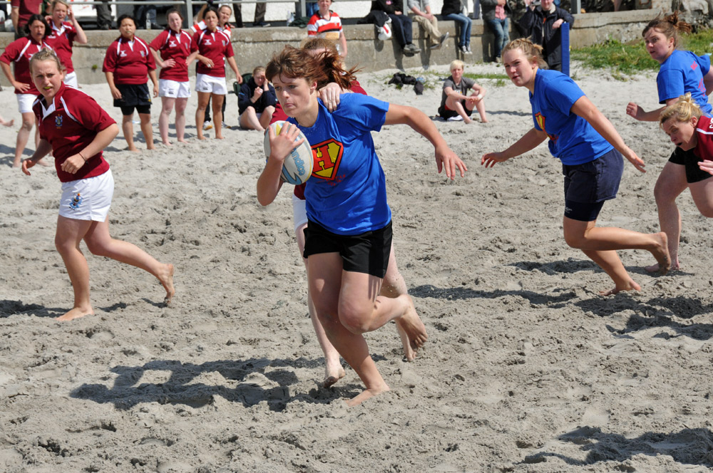 Picture from a ladies beach rugby game