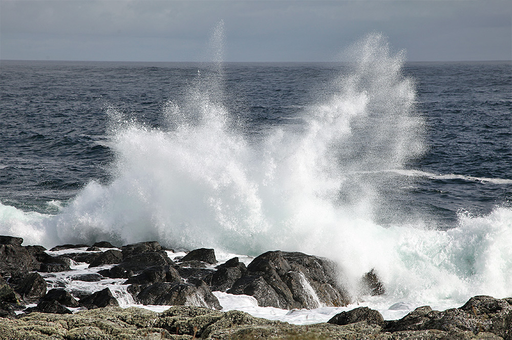 Picture of a wave breaking over rocks on a shore, sending spray high into the air