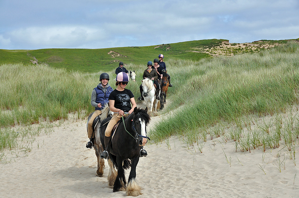 Picture of a group of riders riding through dunes near a beach