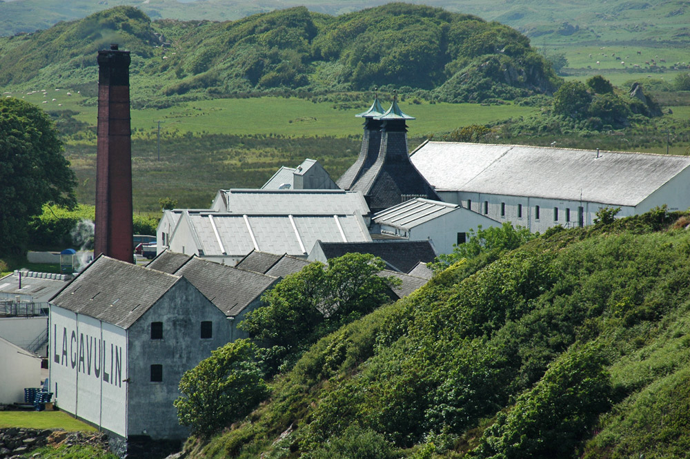 Picture of a view of a distillery, looking down from a hill