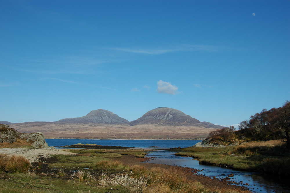 Picture of the Paps of Jura seen across the Sound of Islay from the mouth of Margadale River
