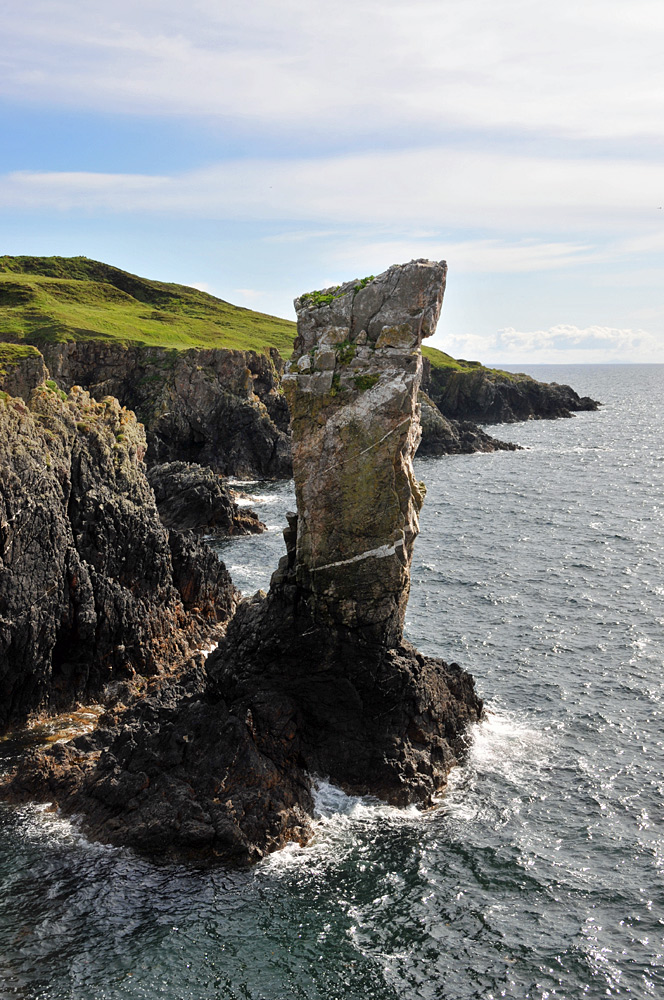 Picture of a sea stack off a coast with steep cliffs
