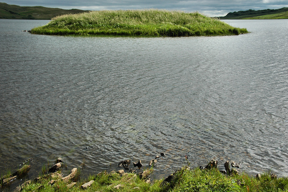 Picture of a view over to a small island in a loch, the remains of a causeway just visible