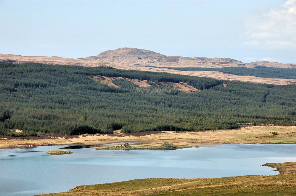 Picture of a view over a loch with two small islands, one with ruins of buildings