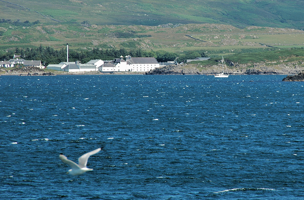 Picture of a view towards Laphroaig distillery from the ferry, a sailing yacht passing in front of the distillery