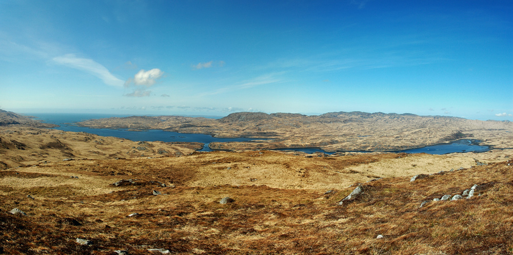 Picture of a panoramic view over a sea loch on an island