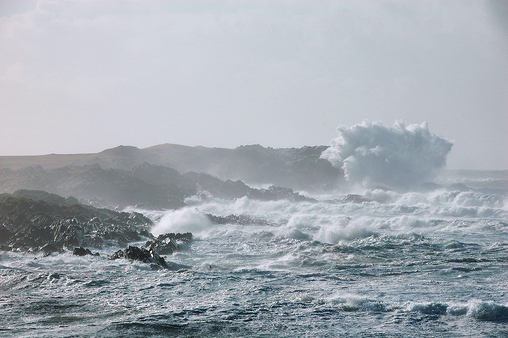 Picture of waves breaking over rocks in a bay, sending spray high into the air