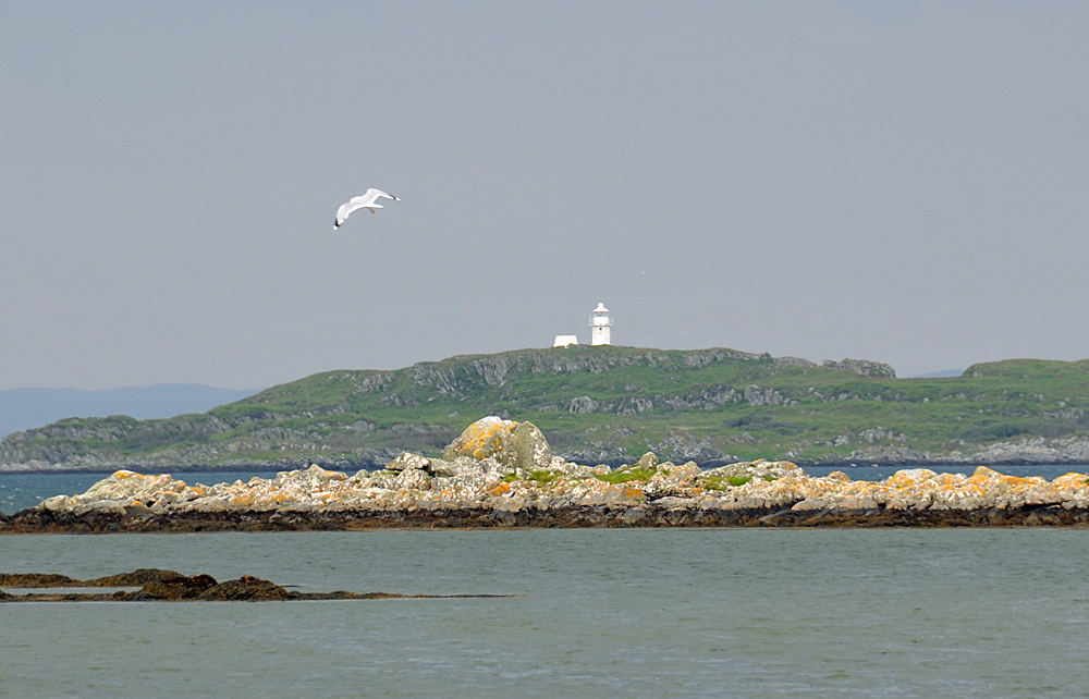 Picture of a small lighthouse on skerries off an island