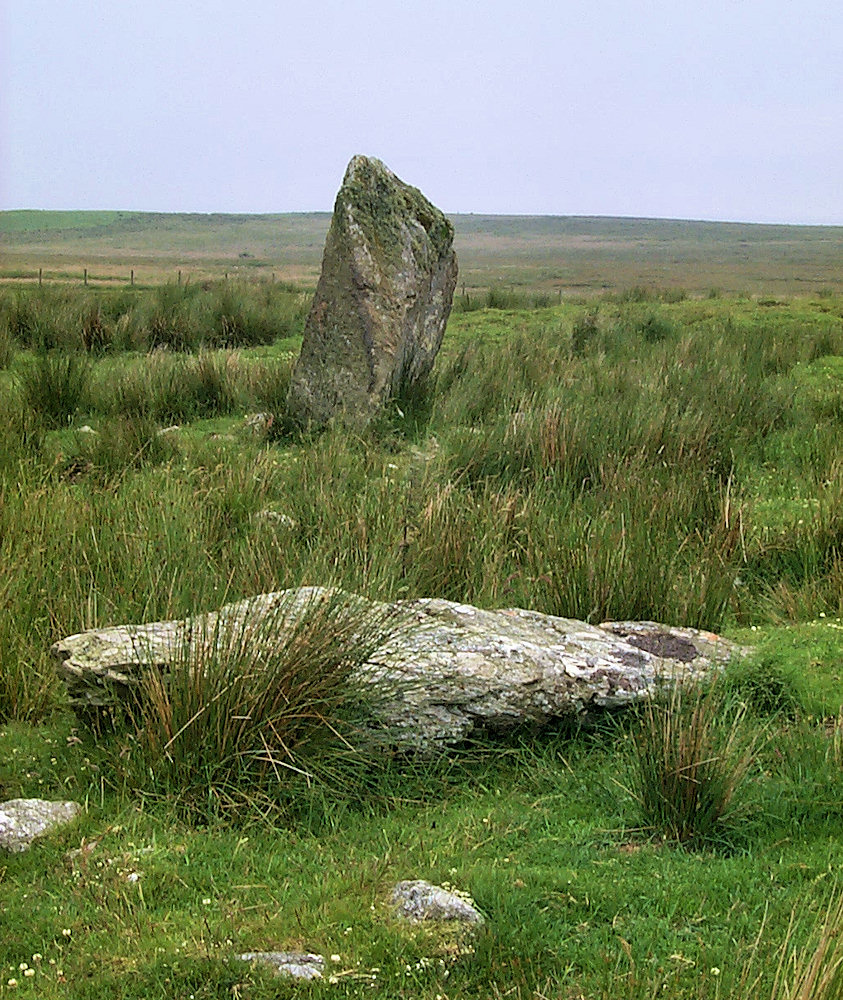 Picture of two stones at a stone circle, one standing, one fallen