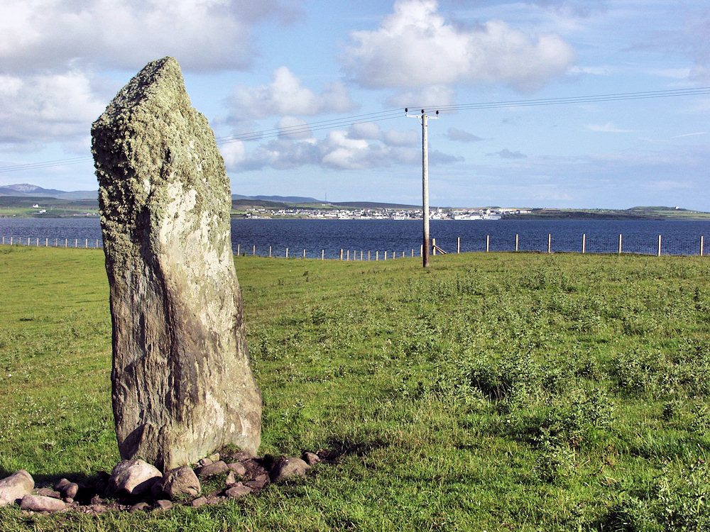Picture of a standing stone in a field, a sea loch and a village in the distance