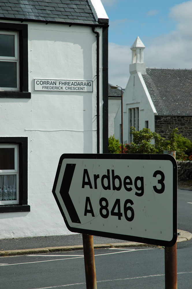 Picture of a road sign pointing to Ardbeg