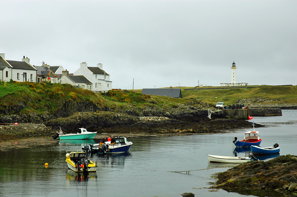 Picture of a variety of small boats moored in a natural harbour, a lighthouse in the background