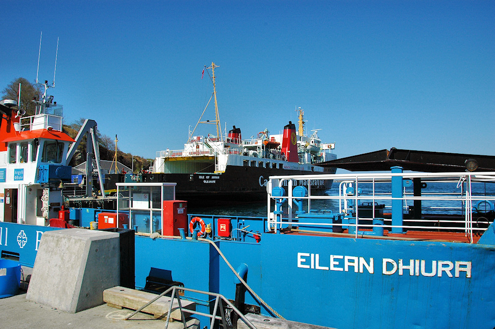 Picture of two ferries tied up in a ferry port