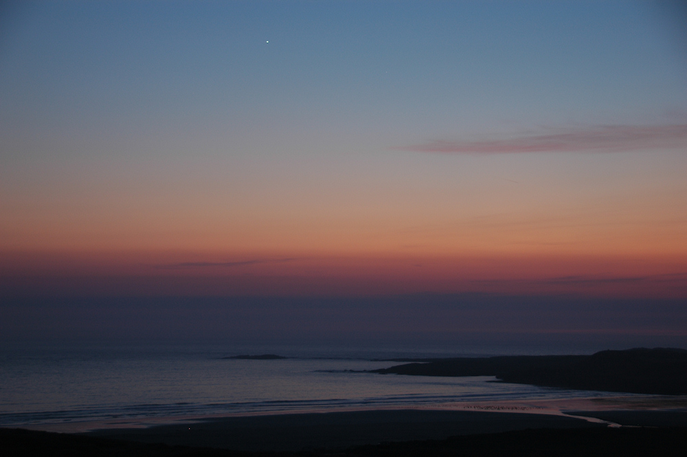 Picture of a darkening sky at last light over a beach
