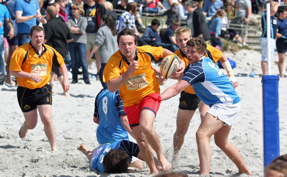 Picture of beach rugby action