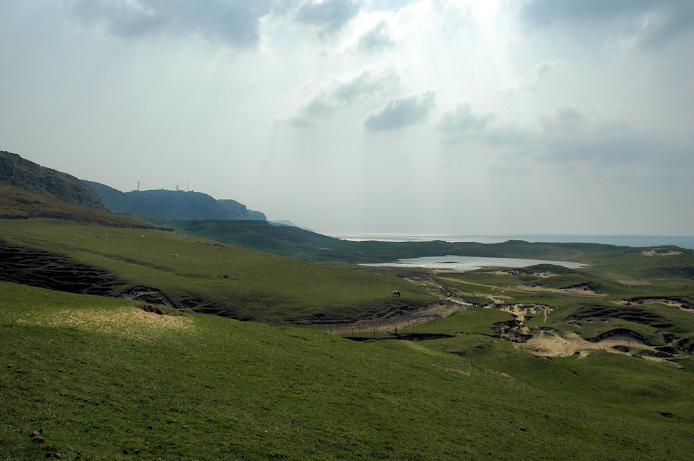 Picture of a view over coastal dunes and crags