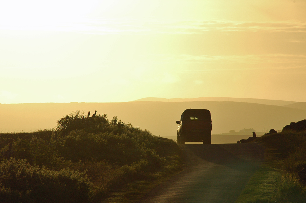 Picture of a car driving on a single track road in the evening light