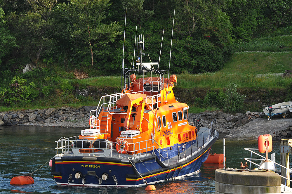 Picture of the Islay lifeboat moored in the evening light