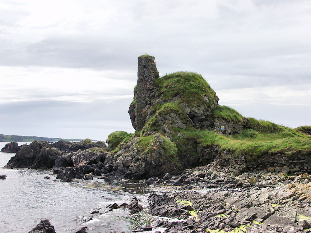 Picture of a castle ruin seen from the shore below
