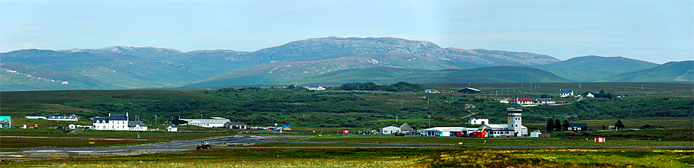 Panoramic picture of a small island airport