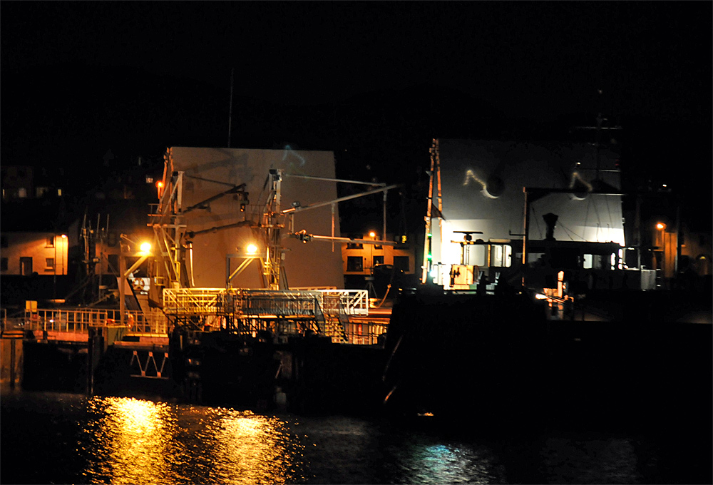 Picture of a small freighter moored at a pier at night being unloaded