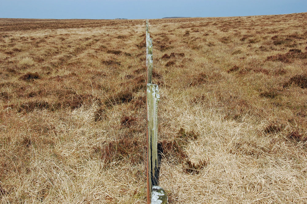 Picture of a straight fence stretching into the distance in a barren landscape