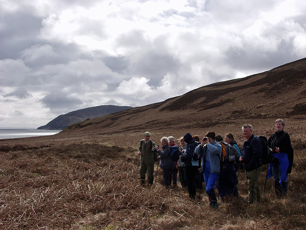 Picture of a group of walkers looking out for wildlife during a walk along a sound