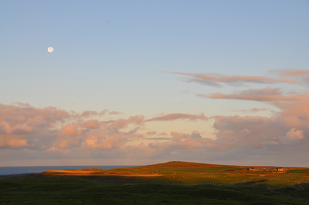 Picture of a coastal landscape with a farm, the Moon in the morning sky, clouds on the horizon