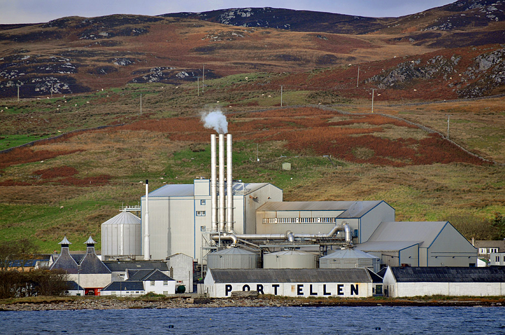Picture of the large industrial maltings in Port Ellen on the Isle of Islay, seen from the ferry
