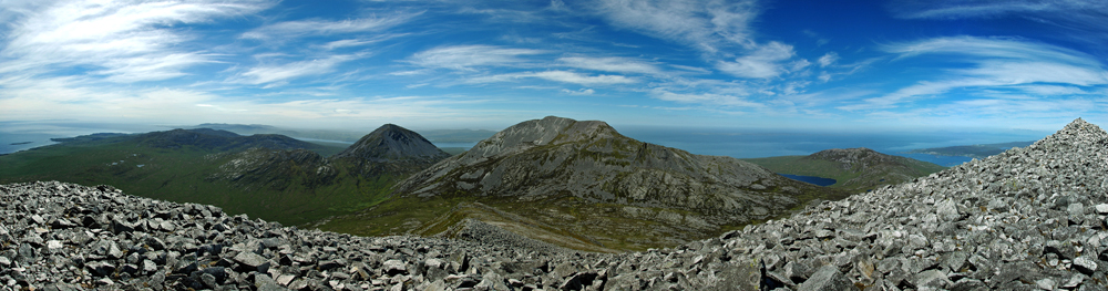 Panoramic picture of a view from a mountain over other mountains