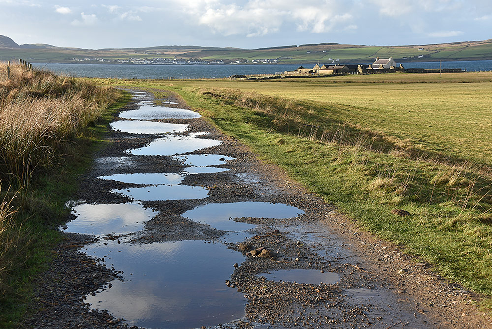Picture of a rough track with many potholes leading to a farm at a sea loch