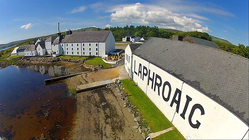 Picture of Laphroaig distillery taken from a quadcopter
