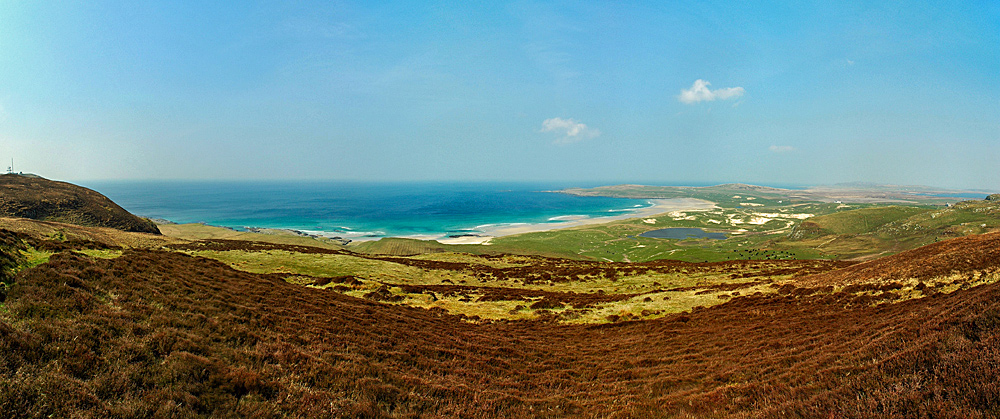 Picture of a panoramic view over a bay with a beach