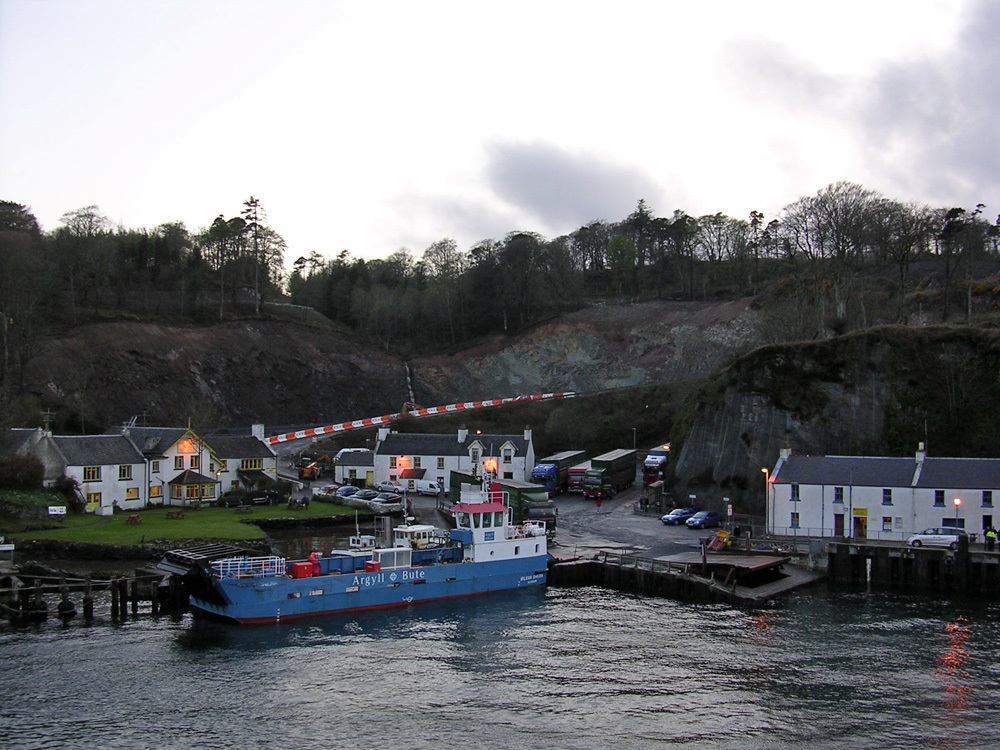 Picture of a small village and ferry terminal with construction work going on