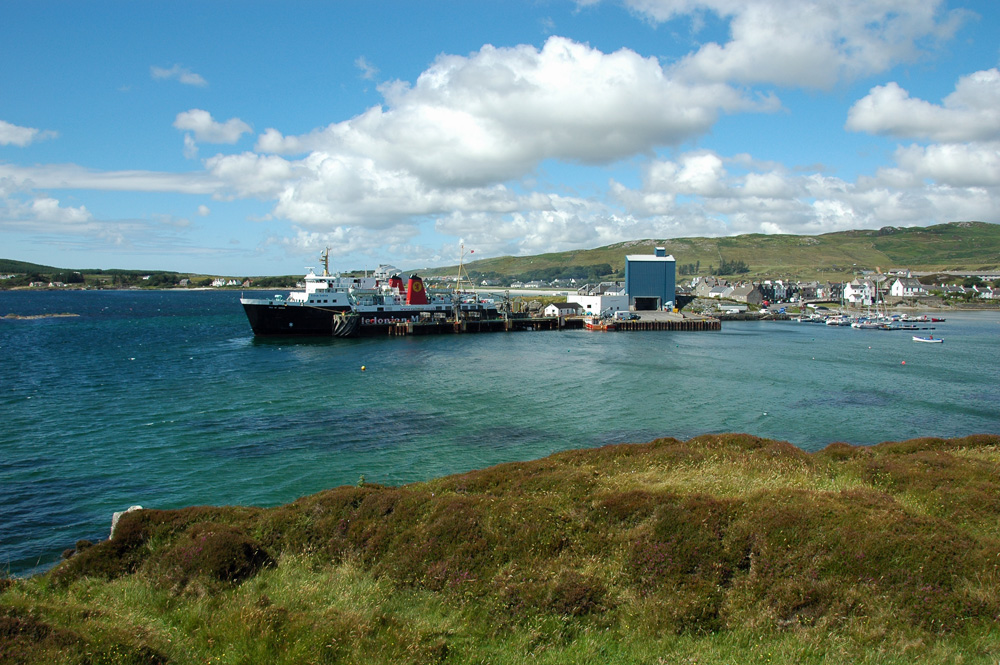 Picture of the pier and harbour of a small island village