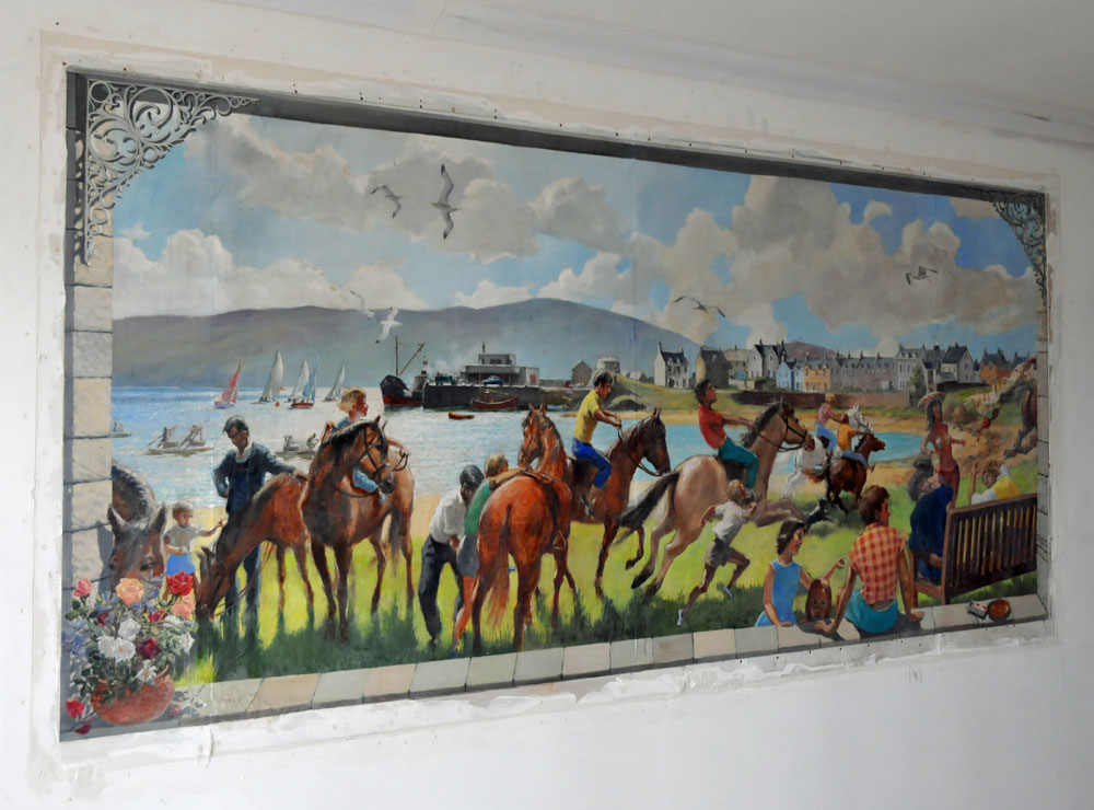 Picture of a painting of a village scene on a wall
